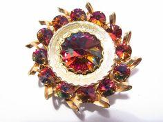 Vintage Crystal Rivoli Rhinestone Brooch by darsjewelrybox on Etsy