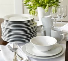 Food always looks good on white dishes. I love these Pottery Barn Caterer's sets - not too expensive & they withstand my kids. The only thing I don't like are the bowls - I don't care for the tulip edge: I worry they'd chip easily.