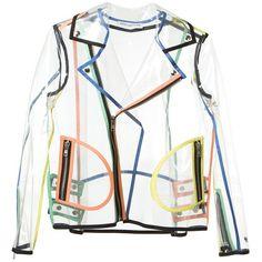 WANDA NYLON transparent biker jacket ($495) ❤ liked on Polyvore featuring outerwear, jackets, coats, nylon motorcycle jacket, motorcycle jacket, sheer jacket, nylon jacket and moto jacket
