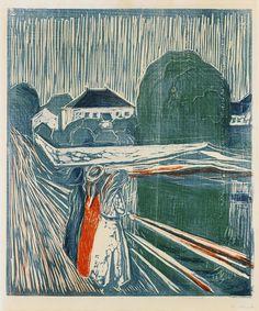 Edvard Munch woodcut, 1918