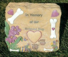 Dog Bereavement Sympathy Remembrance Garden Rock Personalized by Banberry Designs. $25.99. Dog Remembrance Garden Rock. Front can be personalized with a marker or pen (personalizing not furnished by seller). Durable finish for outdoor use. May be used as a grave marker. Stone or rock look, weathered finish, perfect for garden. Dog Remembrance Rock Stone look, made of polystone Rock may be personalized with your pet's name (personalizing not furnished by seller). Measures 8....