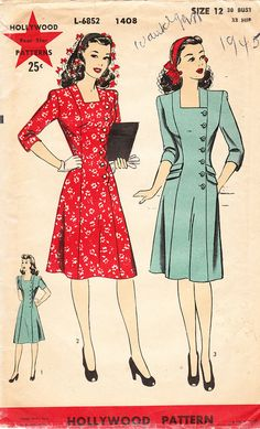Vintage 1940s Misses' Button Front Princess by daisyepochvintage, $12.00