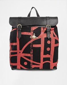 Vivienne Westwood Anglomania Africa Abstract Orb Backpack with Leather Trim