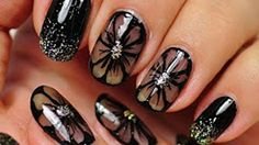 Super Easy Nail Art Ideas for Beginners - Nail Art. Black Nail Design. Black Flowers - Simple Step By Step DIY Tutorials And Pictures For Nailart. Ideas For Every Style, All Hair Colors, Sparkle, Valentines, And other Awesome Products To Make It DIY and Super Easy - https://thegoddess.com/nail-art-ideas-beginners