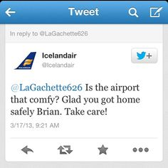 Guess I missed this tweet after my saga of a nap at Kefalik Airport.  Thanks @Icelandair for taking good care of weary travelers! #tripiniceland #lostiniceland #foundiniceland #napiniceland #icelandair #epiclife #tweets #twitter #travel #wanderkrutch #airlines #BOStoKEF #KEFtoLHR #LHRtoKEF #KEFtoBOS #webstagram #instagram #instagood #igaddicts #iphoneonly #iphonesia - @boomboxpaint- #webstagram