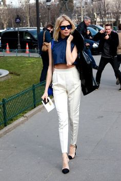 cropped top, high-waist pleated pants