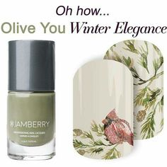 Perfect Match. Olive You lacquer and Winter Elegance! #oliveyoujn #winterelegancejn Get it here: https://kristilovesnails.jamberry.com