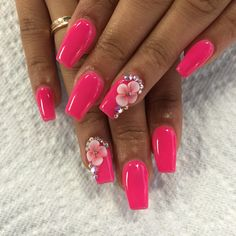 Nails with rhinestones nails :) nails :) Glam Nails, Hot Nails, Pink Nails, Perfect Nails, Gorgeous Nails, Pretty Nails, Simple Acrylic Nails, Summer Acrylic Nails, Summer Nails