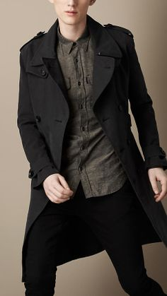 Burberry Brit Long Brushed Cotton Military Trench Coat