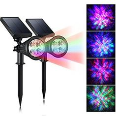 CREATIVE DESIGN LED Outdoor Solar Spotlight, Multi-Colored 4 LED Adjustable Landscape Lighting, Waterproof Wall Light for Outdoor Garden Decorations, Solar Powered Auto On/Off Night Light(2 Pack)