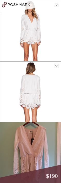 NWT Stone Cold Fox Te Amo Romper in white lace M/L 💥Purchased from Revolve. New With Tag. Stone Cold Fox Te Amo Romper in size M/L. Beautiful white lace on the shorts and arms. Cotton Blend. Dry Clean Only! Elastic Waist. Embroidered eyelet fabric. Runs larger. 💥Low V neck in front 💥 Stone Cold Fox Other
