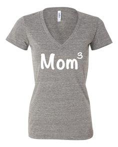 MOM 3 shirt mom of three t-shirt mom cubed tshirt mother's day gift mom shirt…