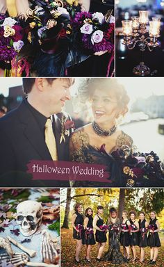 Purple and Black Gothic Halloween Inspired Fall Wedding Ideas #Halloween #purpleweddingideas #elegantweddinginvites