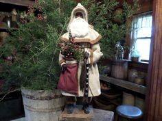 Primitive Old White Wool Homespun German Style Santa Claus in Antiques | eBay