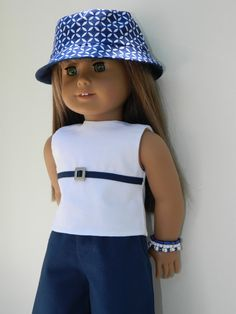 American Girl Doll Clothes Complete Outfit Navy by American Girl Parties, American Girl Diy, American Girl Clothes, Ag Doll Clothes, Doll Clothes Patterns, Clothing Patterns, Girl Dolls, Baby Dolls, How To Make Clothes