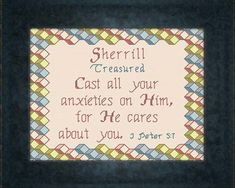 Cross Stitch Sherrill with a name meaning and a Bible verse