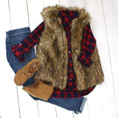 Fur Vest with Plaid Top and Suede Booties