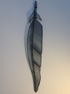 13.5 stained glass Blue Heron feather by BlueBurroCreations