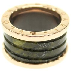 preowned bulgari bzero1 18k pink gold bowenite green bands ring size liked on polyvore featuring jewelry rings pre owned rings 18k rose