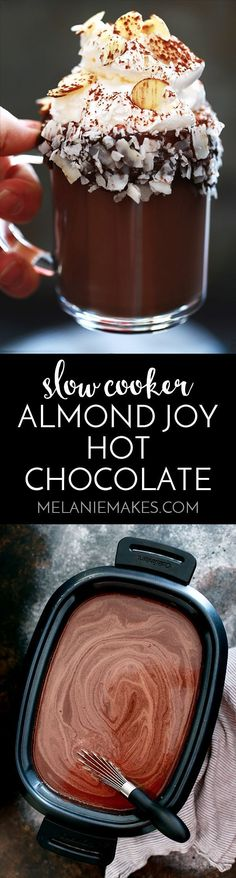 This Slow Cooker Almond Joy Hot Chocolate takes just five minutes to prepare, yet makes enough to wow a crowd! Whole milk, heavy cream, cocoa and almond extract are whisked together to form this decadently delicious treat. Garnished with whipped topping, Yummy Treats, Sweet Treats, Yummy Food, Just Desserts, Dessert Recipes, Dessert Original, Hot Chocolate Recipes, Almond Chocolate, Delicious Chocolate