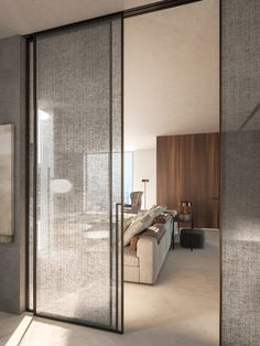 MANHATTAN Sliding doors in clear glass with Lino decorations and moka finish. Made in Italy. Distributed by Snaidero USA Partition Design, Glass Partition, Design Your Home, Home Interior Design, Sliding Glass Door, Interior Sliding Doors, Interior Door, Cool House Designs, Door Design