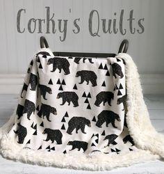 Minky bear baby blanket