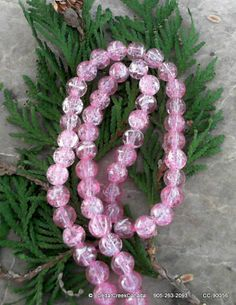Pink  Drawbench 8mm Round Glass Beads by the Strand                                   CC-90056
