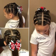 Girl hairstyles 402016704235960874 - Lainey's Hair Show with an easy Monday style, parted sections with a braid into a ponytail. Bow by Cinderella Bowtique. Easy Little Girl Hairstyles, Kids Curly Hairstyles, Cute Girls Hairstyles, Princess Hairstyles, Hairstyles Haircuts, Girl Hair Dos, Curly Hair Styles, Fairy Makeup, Mermaid Makeup