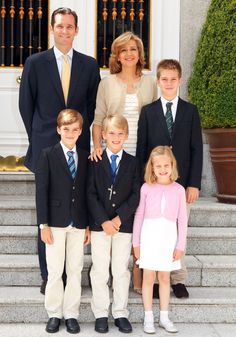 At the Spanish Court:  Spanish Royal Family Christmas Card 2012 of Infanta Cristina-Inaki and Cristina (Duke and Duchess de Palma de Majorca) and their children l-r Pablo,Miguel, Irene, and Juan (photo taken at Miguels' First Communion)