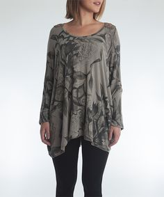 Another great find on #zulily! OWN IT Taupe Floral Crochet-Accent Hi-Low Tunic by OWN IT #zulilyfinds