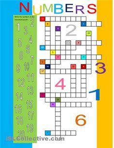 Numbers 1-20 Crossword for ESL kids