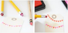 pencil eraser stamp - pinning here to remember to have kids use to make Christmas Light Strings with eraser stamps