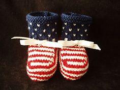Ravelry: Stars & Stripes Booties pattern by Kathie Popadin