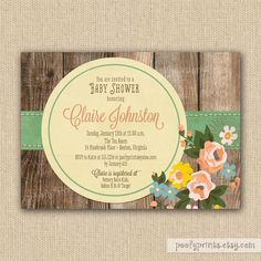 Nice mix of the realistic photo wood slats and the colorful hand painted style of the ribbon and flowers | Vintage Baby Shower Invitations