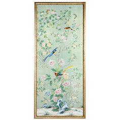 De Gournay Hand Painted on Silk Gilt-wood Framed Panel