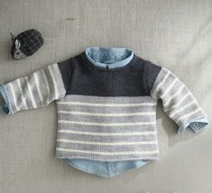 I like the stripe concept- block of colour at yoke then pinstripes down body/sleeves Knitting For Kids, Baby Knitting Patterns, Baby Patterns, Baby Pullover, Baby Cardigan, Knitting Videos, Knitting Projects, Brei Baby, Baby Vest
