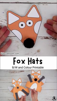 This printable Fox Hat craft is super cute and easy to make. Such a fun fox craft for preschoolers. The head, arms and tail can all be glued in different positions to create lots of different looks. A lovely autumn craft or to go with forest animal or nocturnal study units. (Printable fox craft template in B/W and full colour.) #kidscraftroom #kidscrafts #foxcrafts #autumncrafts #fallcrafts #printable crafts #papercrafts Kindergarten Christmas Crafts, Thanksgiving Preschool, Preschool Crafts, Handmade Christmas Crafts, Halloween Arts And Crafts, Easy Toddler Crafts, Christmas Crafts For Toddlers, Homemade Xmas Gifts, Fox Crafts