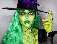 Wicked always wins! Link for the tutorial in my bio! Color explosion I really wanted to do just one color for this theme, and since Halloween is so close, I also wanted to do my version of the Wicked Witch.an explosion of green Halloween Ball, Halloween Inspo, Halloween Make Up, Halloween Rocks, Vintage Halloween, Wicked Witch Costume, Witch Costumes, Halloween Costumes, Scary Witch