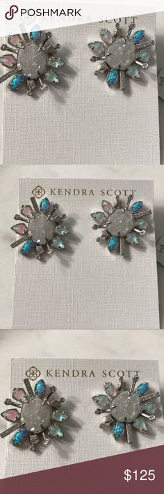 """Kendra Scott Druzy & Opal Stud Earrings These small stud earrings are anything but simple, with a halo of iridescent crystals surrounding a genuine drusy stone. Don these studs with any outfit, and step out in head-turning style.  • Size: 1.15""""L x 1.02""""W on post Kendra Scott Jewelry Earrings"""
