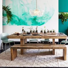 There's something spontaneous and relaxed about an indoor picnic table! If you love the laid-back feel of dining outdoors, bring this vibe home by opting Dining Table With Bench, Dining Room Table, Dining Chairs, West Elm Dining Table, Kitchen Tables, Lounge Chairs, Room Chairs, Side Chairs, Dining Area