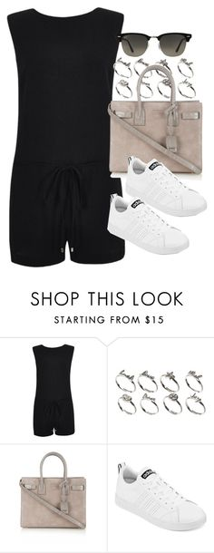 """Style #10157"" by vany-alvarado ❤ liked on Polyvore featuring River Island, ASOS, Yves Saint Laurent, adidas and Ray-Ban"