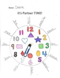 "It's Partner Time - never let students ""pick your partner."" Clock buddies is a great way to make sure kids are not left out!"