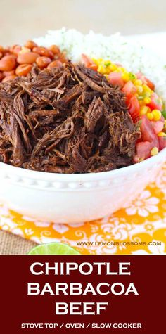 This Chipotle Barbacoa Beef is bursting with flavor. Seared beef cooks in a rich and smoky braising mixture until melt in your mouth fork tender. This Barbacoa Beef is always a crowd pleaser! Stove top, Oven and Slow Cooker Instructions Provided Chipotle Barbacoa Recipe, Chipotle Copycat Recipes, Copykat Recipes, Shredded Beef Recipes, Shredded Beef Tacos, Mexican Shredded Beef, Mexican Fiesta Food, Mexican Food Recipes, Kitchen Cook