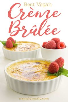 Vegan Creme Brûlée Recipe This Vegan Creme Brûlée recipe is everything you want in a creamy, AMAZING DESSERT! If you're a beginning vegan baker, you will be SO SURPRISED at how easy a vegan creme brûlée is! It's much easier than the traditiona Vegan Pound Cake Recipe, Vegan Coconut Cake, Vegan Carrot Cakes, Coconut Sugar, Vegan Dessert Recipes, Fun Desserts, Vegan Creme Brulee, Vegan Whipped Cream, Brulee Recipe