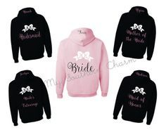 Bridesmaid hoodies with bow and name Bridesmaid by SouthernTLC
