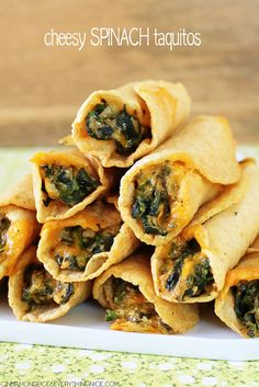 Cheesy Spinach Taquitos maybe add some ground beef or chicken?