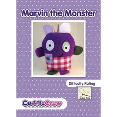 Monster toy sewing pattern for children.  Book end or door stopper