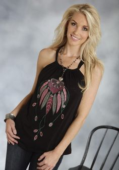 Roper® Womens Black Feather Embroidered Western Halter Tank
