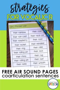 Free AIR Sound Vocalic R Sentences Printables. Free Pages from my Step Up to Easy Vocalic R Phrases and Sentences Resource Articulation Therapy, Articulation Activities, Speech Activities, Speech Therapy Activities, Speech Language Pathology, Speech And Language, Language Activities, Shape Activities, Phrases And Sentences
