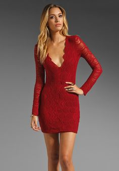 Nightcap Long Sleeve Deep V Victorian Dress in Red Currant..